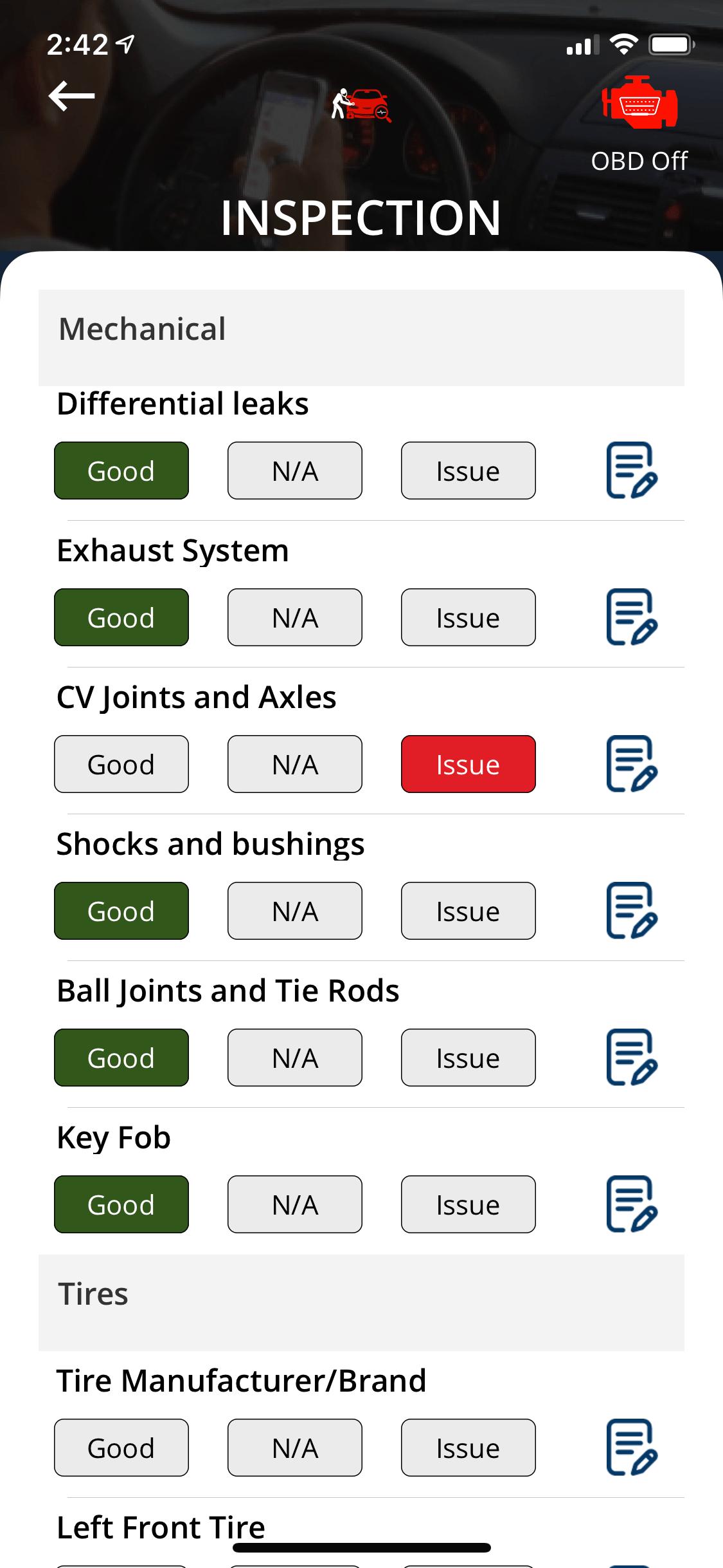Inspection App - Mechanical Inspection