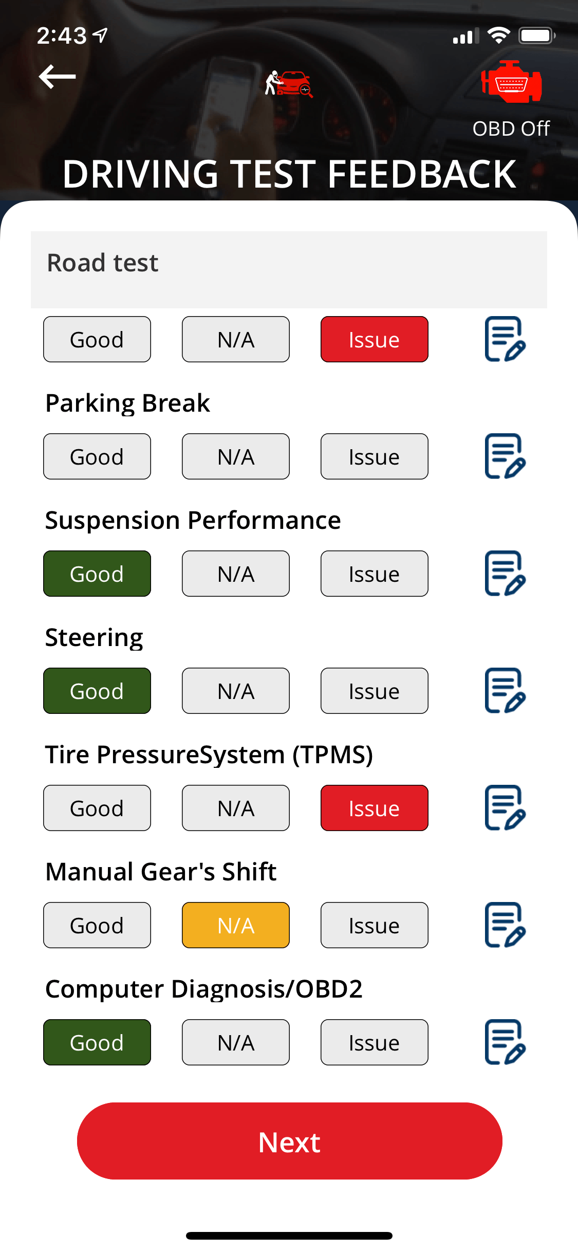 Vehicle Inspection APP