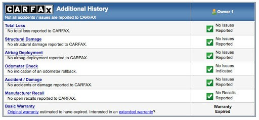 carfax damage history