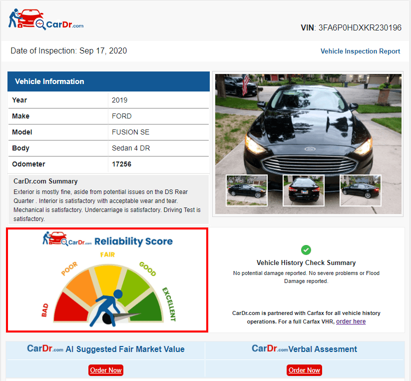 CarDr.com's Comprehensive Inspection Report - Based on On Board Diagnostics, Mechanical, Exterior and Interior