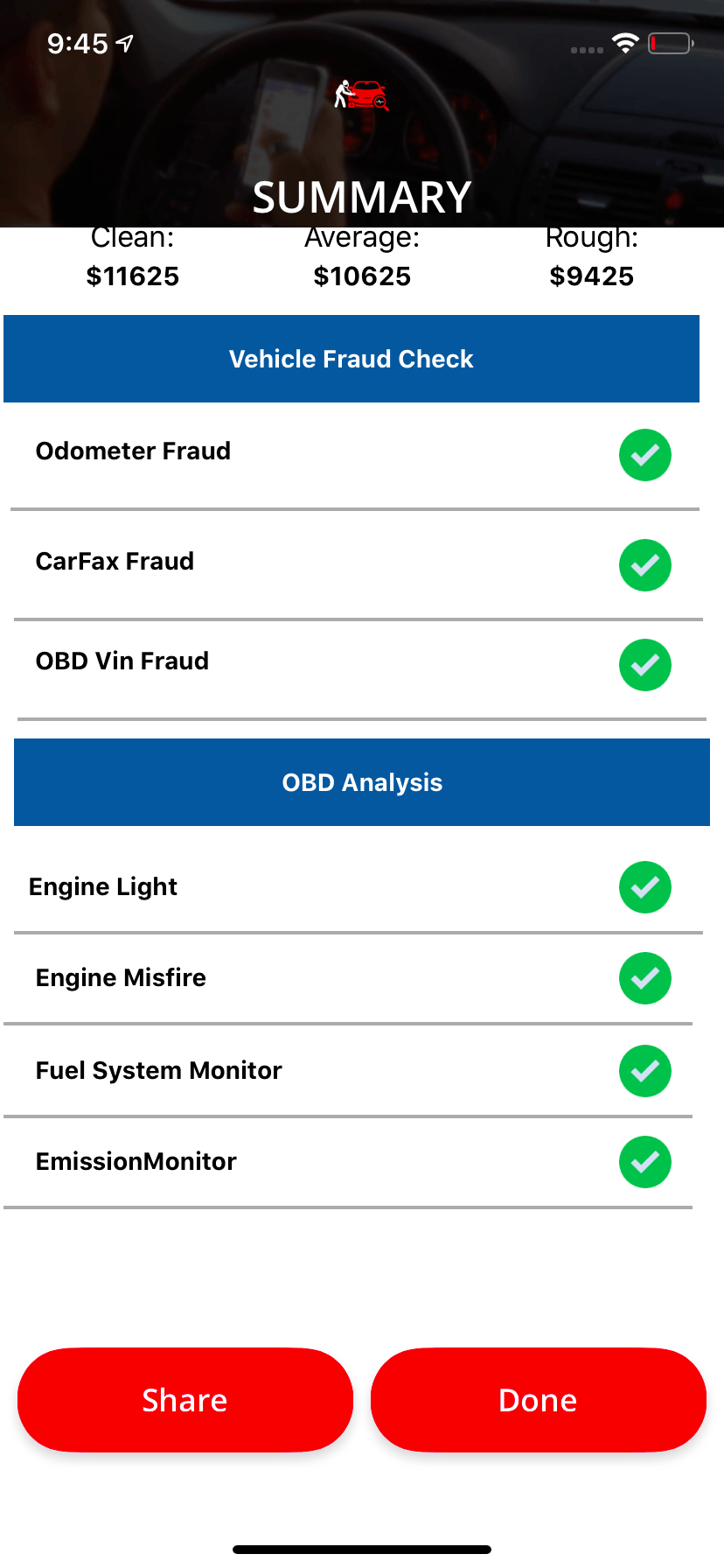 Dealer Appraisal APP  - Car OBD Detection