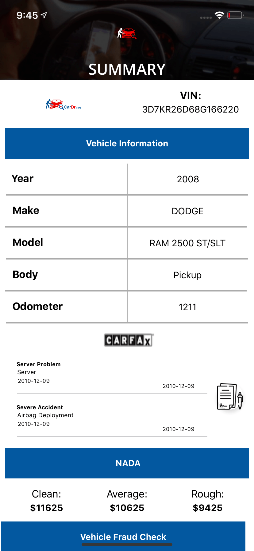 Dealer Appraisal APP  - Car Summary